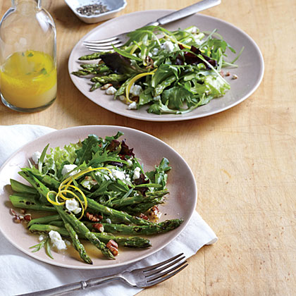Skillet Asparagus Salad with Goat Cheese Recipe