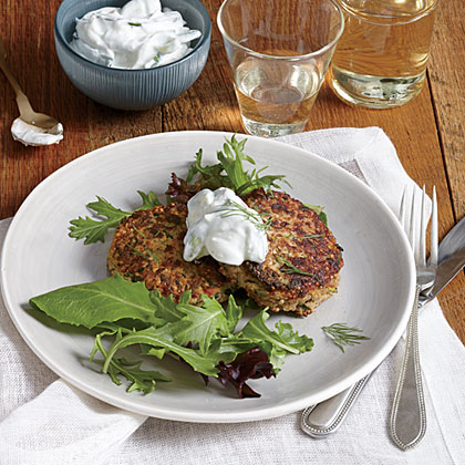 Zucchini, Walnut, and Feta Cakes with Cucumber-Yogurt Sauce