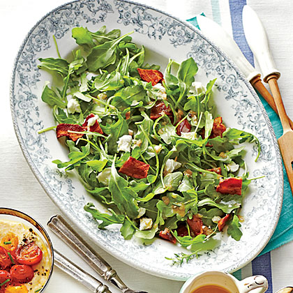 Arugula with Warm Bacon Vinaigrette