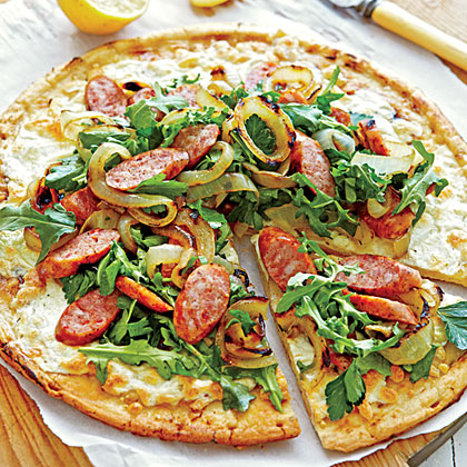 Grilled Sausage Salad Pizza