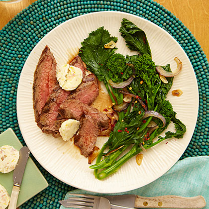 ay-Grilled Flank Steak with Horseradish Butter