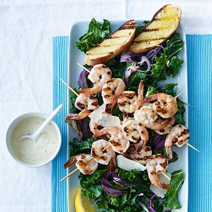 Kale Caesar Salad with Grilled Shrimp