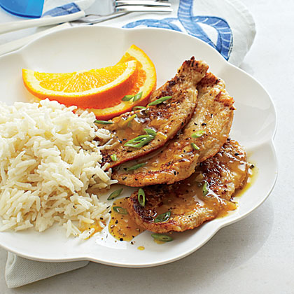 Orange-Ginger Turkey Cutlets with Coconut RiceRecipe