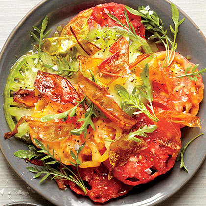 Beefsteak Tomato Salad with Fried Tomato Skins Recipe