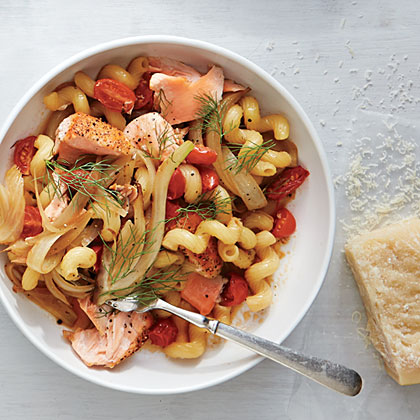 Cavatappi with Salmon and Wilted Fennel