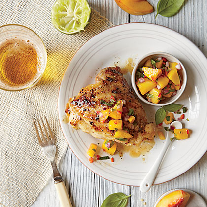 Grilled Chicken Thighs with Peach-Lime Salsa