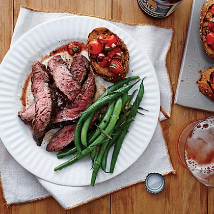 Flank Steak with Tomato Bruschetta Recipe