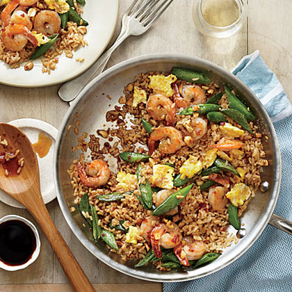 Quick Fried Brown Rice with Shrimp and Snap Peas Recipe