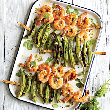 Indian-Spiced Grilled Shrimp and Okra