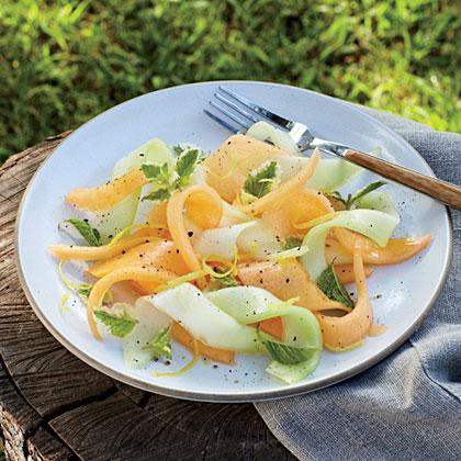Shaved Melon Salad with Lemon-Sherry Dressing