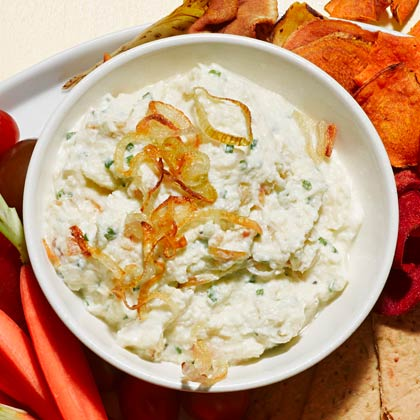 <p>Hearts of Palm French Onion Dip</p>