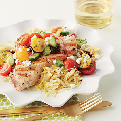 Grilled Swordfish with Chopped Greek Salad Recipe
