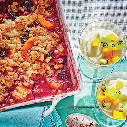 Peach-Berry Crumble RecipeWe love this recipe because it's easy enough for busy, weeknight cooking; pop the crumble in the oven when you serve dinner and it'll be ready in about 40 minutes.