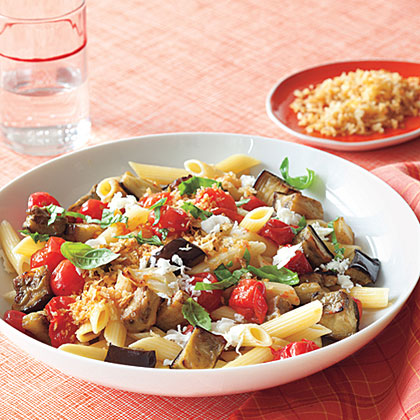 Meatless Monday, hearty Penne with Roasted Eggplant and Mozzarella ...