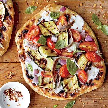Grilled Vegetable Pizzas with Anchovies Recipe | MyRecipes.com