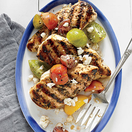 <p>Grilled Lemon Chicken with Tomato Salad</p>