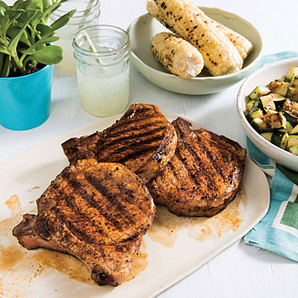 Paprika Pork Chops with Zucchini                            RecipePlump pork chops pack a bit of heat with a paprika-based spice rub. Serve with the grilled zucchini and a side of grilled corn-on-the-cob for a well-rounded gluten-free meal.