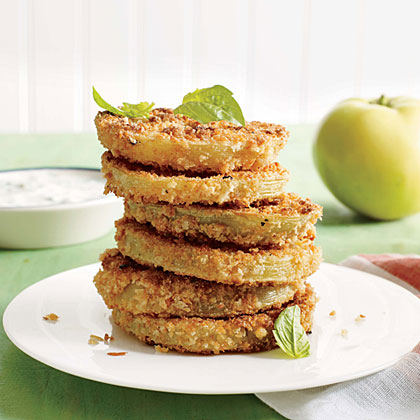 """Pickled """"Fried"""" Green Tomatoes with Buttermilk-Herb Dipping Sauce"""
