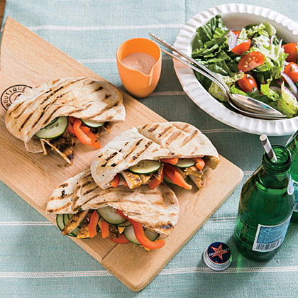<p>Turkey Pitas with Tahini-Yogurt Sauce</p>