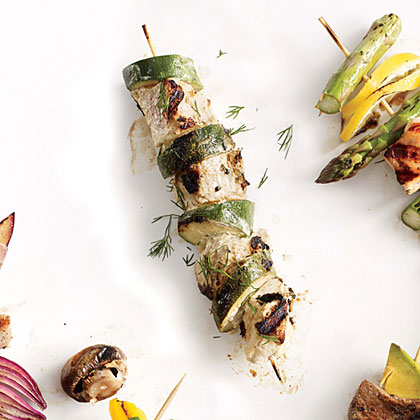 Yogurt-Marinated Chicken and Zucchini Kebabs