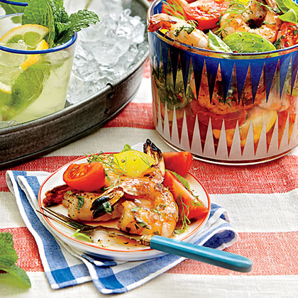 Tomato Salad with Grilled Shrimp RecipeLook for beautiful and tasty heirloom tomatoes in a rainbow of colors at your local farmers' market, and keep them at room temperature until you're ready to slice and serve.