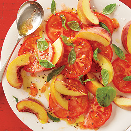 Peach, Tomato and Basil Salad Recipe | MyRecipes