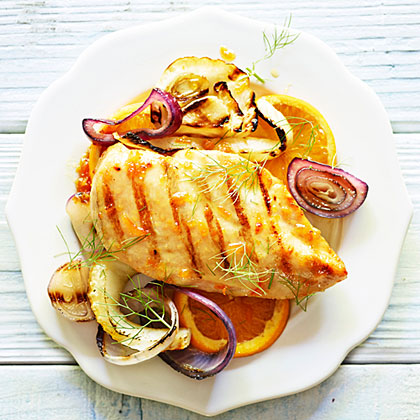 Grilled Chicken and Fennel with Orange Glaze