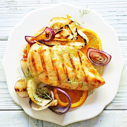 Grilled Chicken and Fennel with Orange Glaze