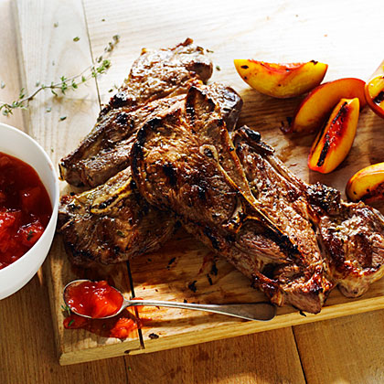 Grilled Lamb Chops with Nectarine Thyme Jam RecipeYou couldn't ask for a better partner for lamb's mildly earthy flavor than nectarines, used here in a quick jam and sizzled on the grill.