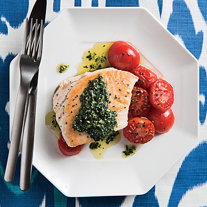<p>Pan-roasted Halibut with Kale Pesto and Cherry Tomatoes</p>