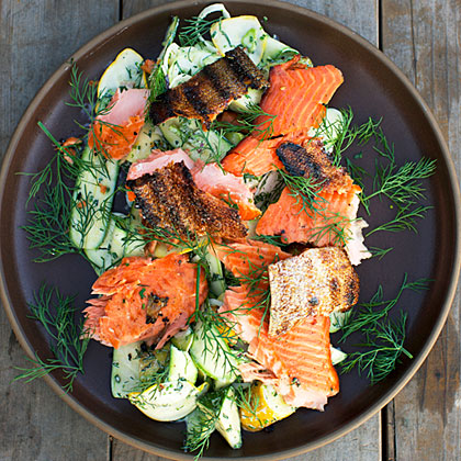 <p>Smoked Salmon Summer Squash Salad</p>