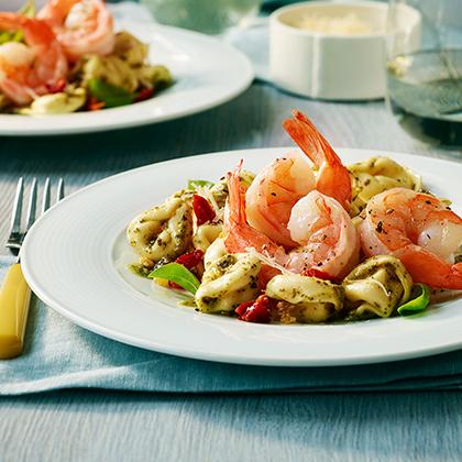Garlic Shrimp with Three Cheese Tortellini