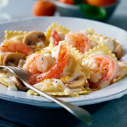 Orange Shrimp and Mushroom Pasta (Lighter)