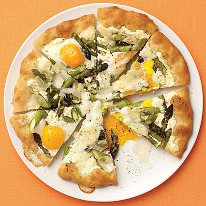 Asparagus, Ricotta, and Egg Pizza
