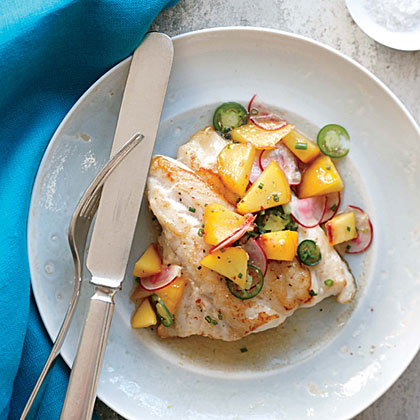 <p>Sautéed Black Grouper with Peach Relish</p>