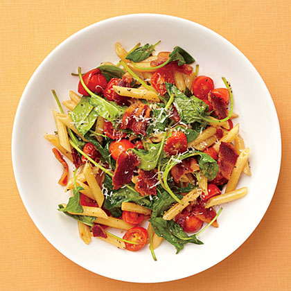 "BLT Pasta RecipeIn this 5-ingredient recipe, the classic sandwich gets an update that makes it fit for the dinner table. The ""lettuce"" in this BLT is actually tender baby spinach."
