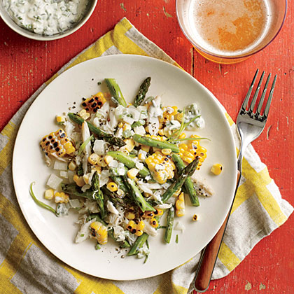 Grilled Corn, Crab, and Asparagus Salad RecipeGrilled corn and asparagus add smoky summertime flavor to this easy salad. Lumb crabmeat provides protein, making this salad worthy of the main course.