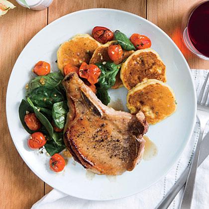 Honey-Glazed Pork Chops and Tomato Salad