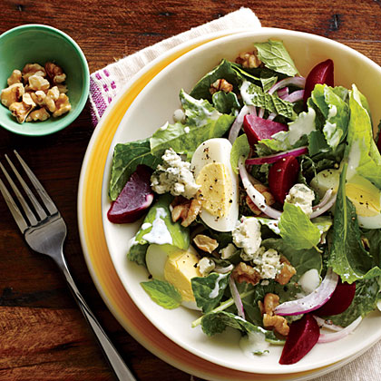 Kale and Beet Salad with Blue Cheese and Walnuts