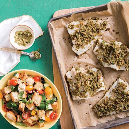 Morue en croûte d'olive et pesto