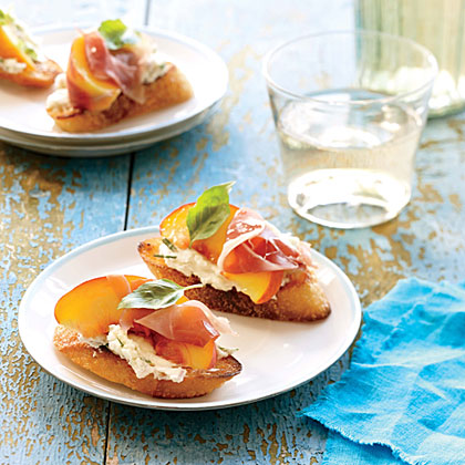 peach and prosciutto canapes recipe myrecipes