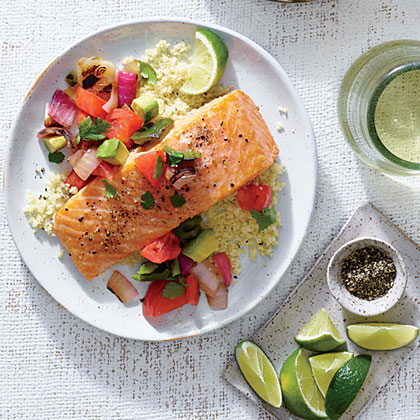 Cedar Plank Salmon with Tomato Salsa                            RecipePlanking fish infuses it with great flavor. Here, a combination of grilled and fresh vegetables creates a gorgeous topping for heart-healthy salmon. Serve over a bed of hot cooked quinoa.