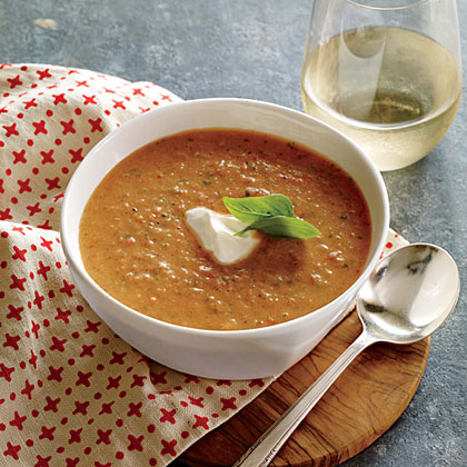 Tangy Tomato-Basil Soup                            RecipeThe addition of buttermilk and Greek yogurt lends pleasant tang to fresh tomato soup. Use the ripest, sweetest summer tomatoes you can get your hands on for this recipe.