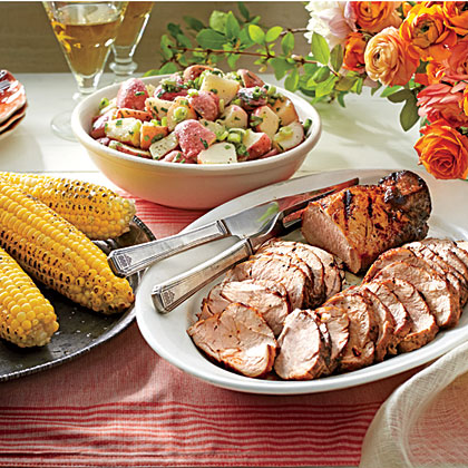 <p>Grilled Pork Tenderloins with Corn on the Cob</p>