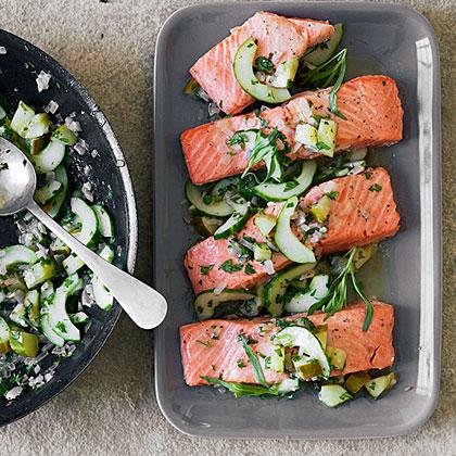 Baked Salmon with Tarragon-Glazed Cucumber