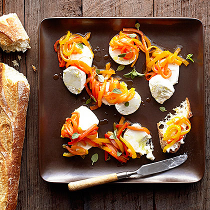 Roasted Tricolored Peppers and Goat Cheese