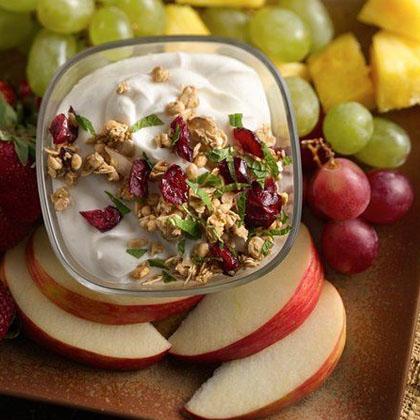 Crunchy Cranberry Almond Greek Yogurt Fruit Dip
