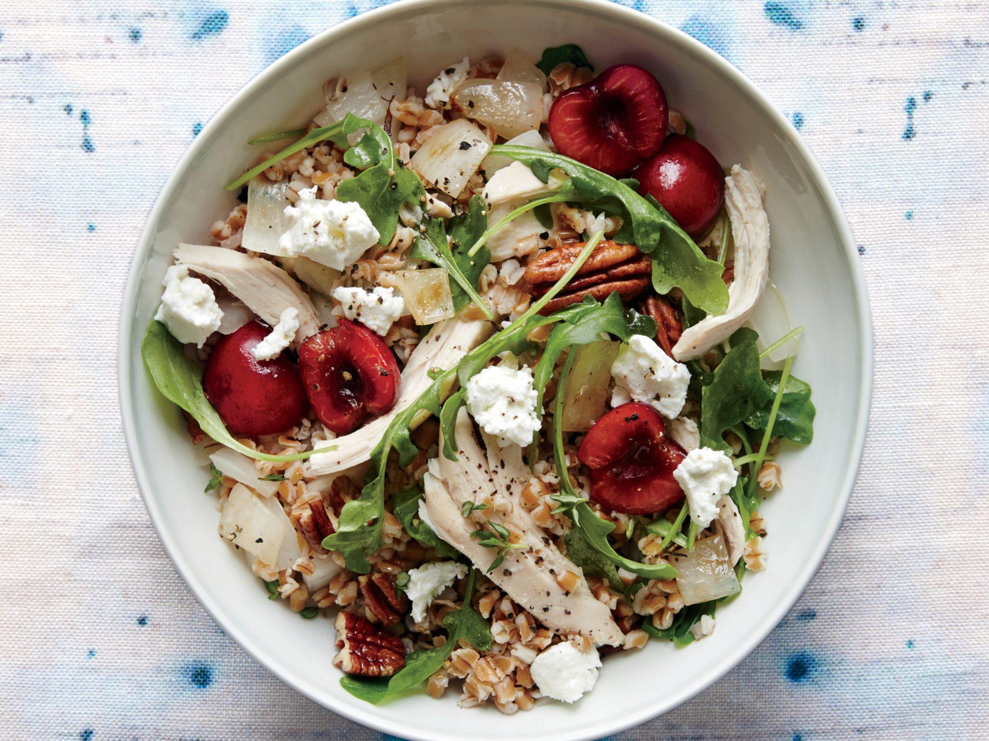 <p>Cherry, Chicken, and Pecan Wheat Berry Salad</p>