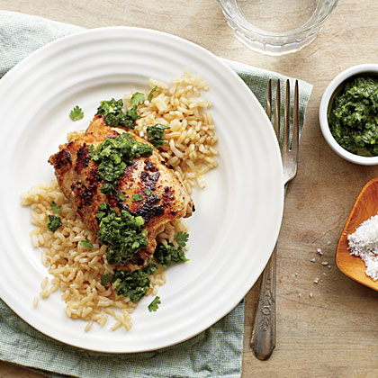 <p>Grilled Chicken Thighs with Cilantro-Mint Chutney</p>