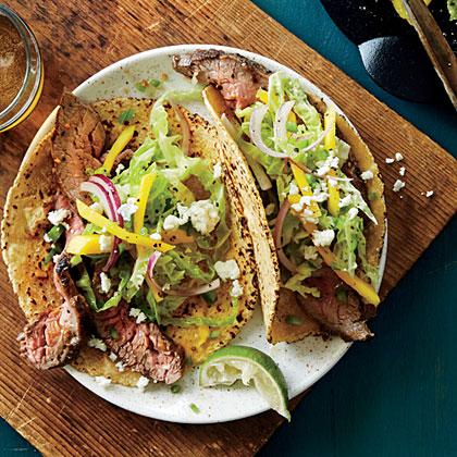 Lemon-Pepper Flank Steak Tacos